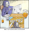 Cartoon: Reapies (small) by noodles tagged grim,reaper,wheaties,obituaries,death,noodles,accomplishment