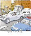 Cartoon: Speed 3 (small) by noodles tagged speed,movies,popemobile,pope,bomb,noodles