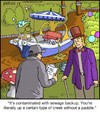 Cartoon: Wonka (small) by noodles tagged wonka,chocolate,factory,river,creek,contamination,sewer