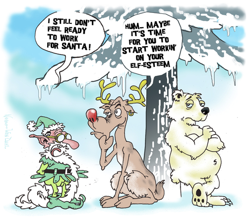 Cartoon: Elf Esteem (medium) by NEM0 tagged elf,christmas,xmas,santa,clauss,rudolf,deer,white,bear,winter,snow