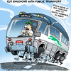 Cartoon: Green Public Transportation (small) by NEM0 tagged energy,environment,ghg,greenhouse,gases,transports,transportation,public,green,ecology,ecological,fuel,efficiency