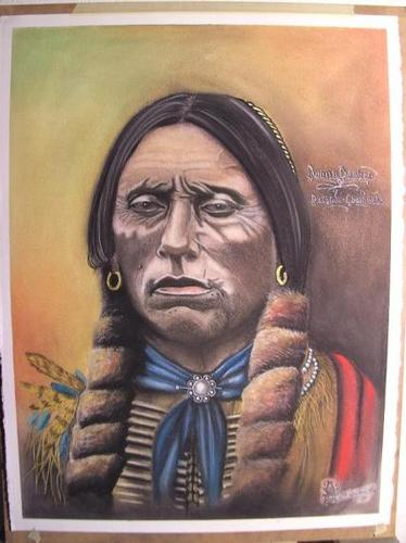 Cartoon: Quanah Parker  Comanche (medium) by bvhabenicht tagged quanah,parker,comanche,pastell,zeichnung,illustration,indianer,häuptling,chief