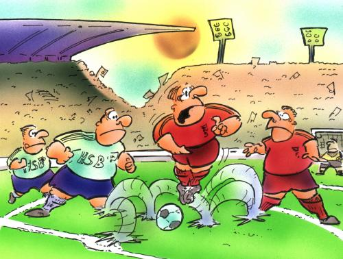 Cartoon: Dribbeling (medium) by HSB-Cartoon tagged sport,fussball,soccer,dribbeling,,fussball,sport,spieler,em,wm,nationalmannschaft,stürmer,frei spielen,trainer,missverständnis,klo,pinkeln,dribbeln