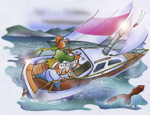 Cartoon: heeled sailboat (medium) by HSB-Cartoon tagged sailing,heeled,sailboat,sea,ocean,weather,storm,thunder,couple,sailor,segeln,segelboot,unwetter,meer,ozean,boot,schiff,wind,airbrush,illustration,segeln,meer,wasser,sport,wasserstport,wetter
