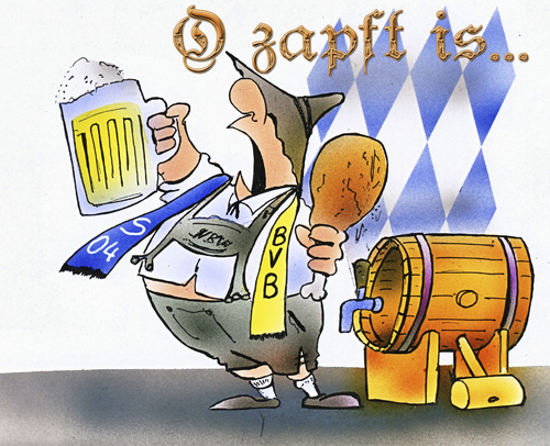 Cartoon: Oktoberfest (medium) by HSB-Cartoon tagged oktoberfest,bier,haxe,bayern,trachten,bierfass,s04,schalke,bvb,borussia,dortmund,fussball,cartoon,karikatur,caricature,airbrush,bier,haxe,bayern,bvb,borussia dortmund,borussia,dortmund
