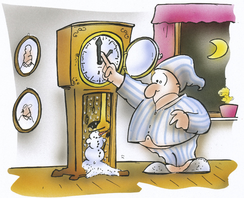 Cartoon: Umstellen auf Winterzeit (medium) by HSB-Cartoon tagged zeitumstellung,uhrumstellung,clock,uhr,sommerzeit,winterzeit,wintry,winter,airbrush,hsb,karikatur,caricature,cartoon,mez,standuhr,nacht,winter,sommerzeit,uhrumstellung,zeitumstellung