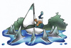 Cartoon: sharks (small) by HSB-Cartoon tagged sail,sailboat,jolle,water,sea,shark,fish,boat,ship,ocean,sailor,seemann,segler,segelshiff,schiff,bott,hai,haifisch,meer,airbrush,cartoon,caricature