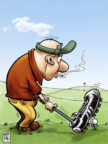 Cartoon: un chute de golf (medium) by Wadalupe tagged golf,deporte,futbol,green,pat,partido,hoyos,handicap