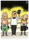 Cartoon: por puntos (small) by Wadalupe tagged boxeo,ring,gancho,arbitro,ko,puntos,decision,arbitraria