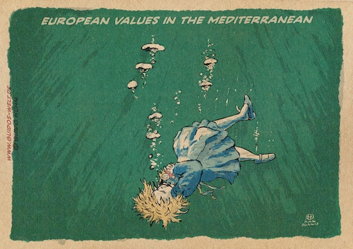Cartoon: European values (medium) by gkuehn tagged migration,refugees,frontex,eu,europe