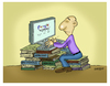 Cartoon: The books and technology (small) by ismailozmen tagged search,engine,technology,computer,books,encyclopedia
