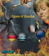 Cartoon: Merkel Play... Disaster Games (small) by takis vorini tagged vorini