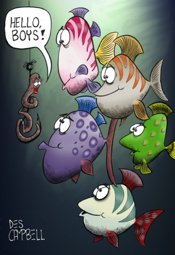 Cartoon: Gone fishing (medium) by campbell tagged worm,fish,fishing,underwater
