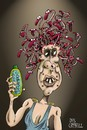 Cartoon: Bad hair day in ancient Greece (small) by campbell tagged medusa,ancient,greece,mythology,snakes