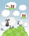 Cartoon: Fluffy cloudy sheepy thoughts! (small) by campbell tagged sheep,clouds,wool