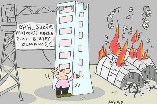 Cartoon: 11 workers died (medium) by yasar kemal turan tagged 11,workers,died,turkey,construction