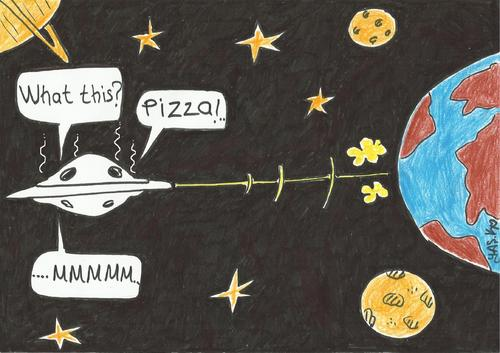 Cartoon: alien fan of pizza (medium) by yasar kemal turan tagged ufo,pizza,of,fan,alien,pizzapitch