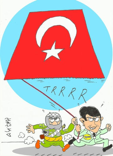 Cartoon: alliance (medium) by yasar kemal turan tagged mekap,terrorism,tbmm,alliance,pkk,bdp,turkey