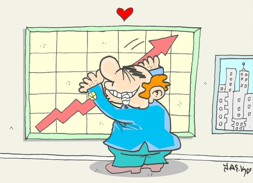 Cartoon: another love (medium) by yasar kemal turan tagged another,love,economy,indicator,rich