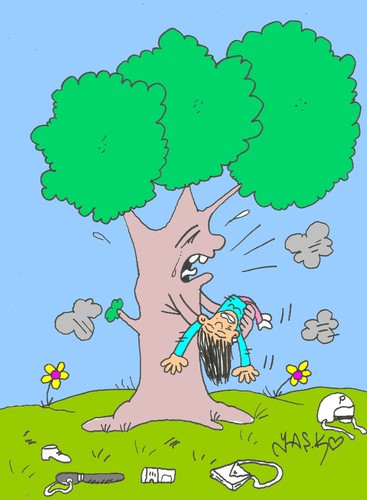Cartoon: awareness of the tree (medium) by yasar kemal turan tagged awareness,of,the,tree