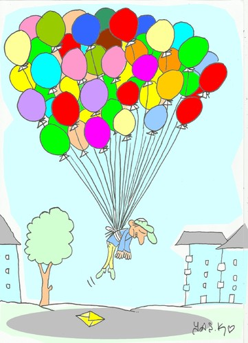 Cartoon: balloons-seller (medium) by yasar kemal turan tagged seller,balloon,suicide