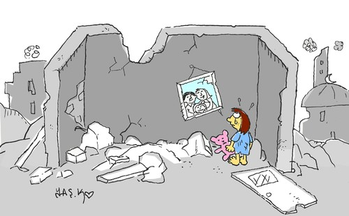 Cartoon: Being a child in Gaza (medium) by yasar kemal turan tagged being,child,in,gaza