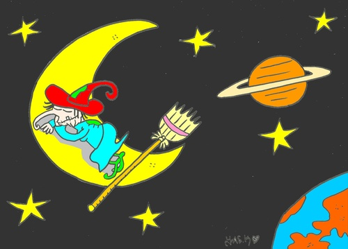 Cartoon: break (medium) by yasar kemal turan tagged break,witch,moon