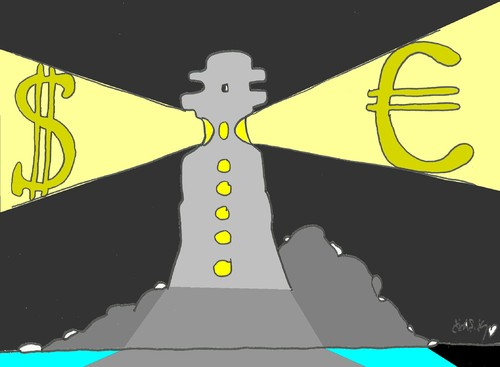 Cartoon: case of a lighthouse (medium) by yasar kemal turan tagged corruption,money,dollar,euro,lighthouse,case