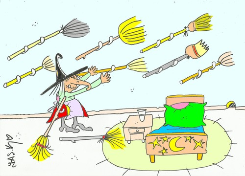 Cartoon: cleaners-witch (medium) by yasar kemal turan tagged witch,magician,cleaners