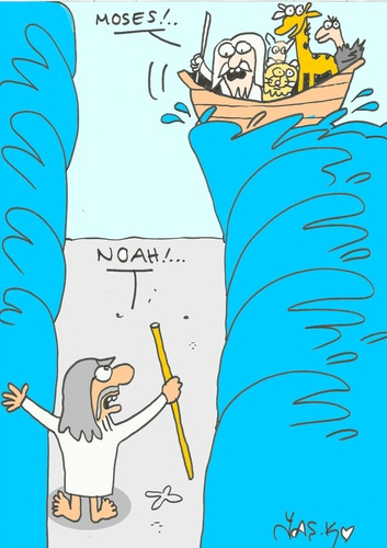 Cartoon: coincidence (medium) by yasar kemal turan tagged coincidence,noah,moses