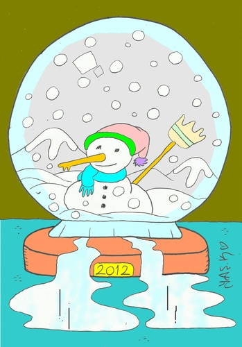 Cartoon: contact (medium) by yasar kemal turan tagged contact,love,winter,snowman,water