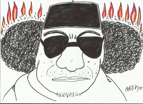 Cartoon: gaddafi (medium) by yasar kemal turan tagged cruel
