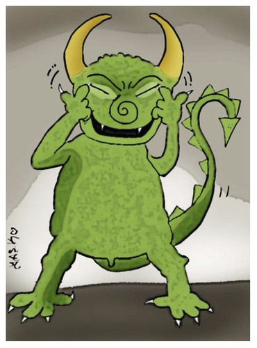 Cartoon: earthquake devil (medium) by yasar kemal turan tagged japan,devil,earthquake