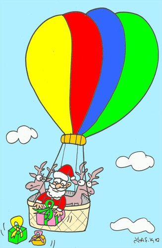 Cartoon: easy (medium) by yasar kemal turan tagged easy,love,father,christmas,balloon,gifts