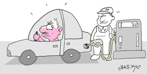 Cartoon: expensive gasoline (medium) by yasar kemal turan tagged expensive,gasoline