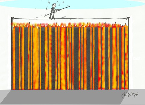Cartoon: expensive shopping (medium) by yasar kemal turan tagged rich,poor,poverty,fire,barcode,shopping,expensive