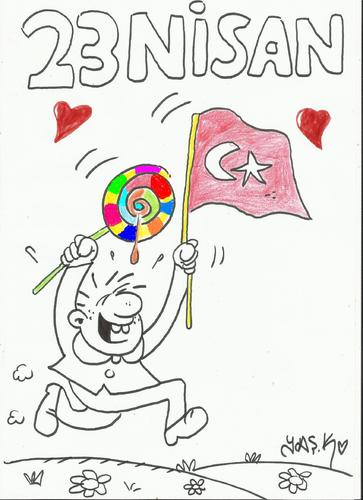 Cartoon: 23 NiSAN (medium) by yasar kemal turan tagged feast