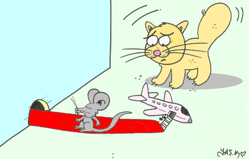 Cartoon: first class (medium) by yasar kemal turan tagged first,class,mouse,cat,aircraft,red,carpet