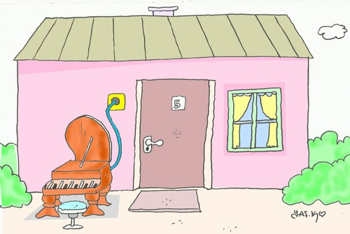 Cartoon: doorbell (medium) by yasar kemal turan tagged music,for