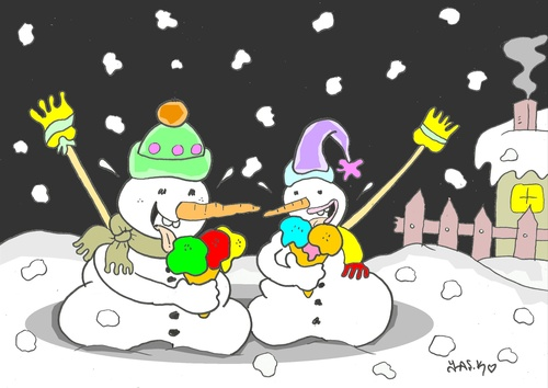 Cartoon: full time (medium) by yasar kemal turan tagged full,time,love,ice,cream,snowman