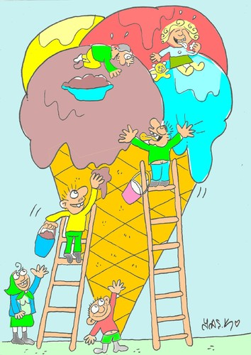 Cartoon: great ice cream (medium) by yasar kemal turan tagged cream,ice,great