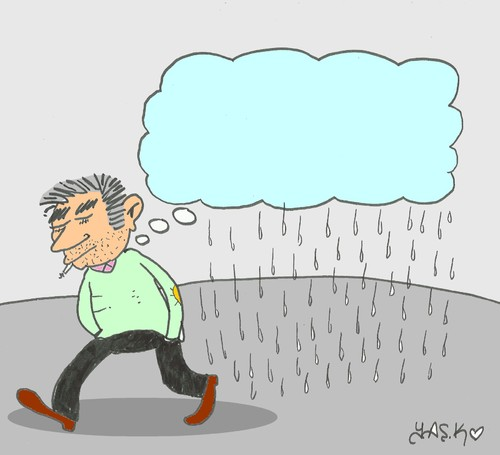 Cartoon: grief (medium) by yasar kemal turan tagged thought,rain,cloud,grief
