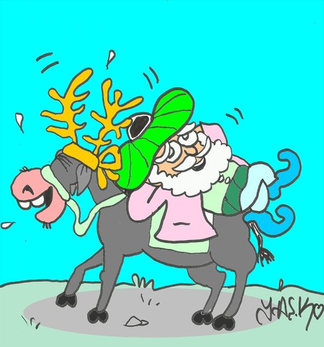 Cartoon: happy birthday (medium) by yasar kemal turan tagged happy,deer,birthday,nasreddin,hodja,donkey,noel,love