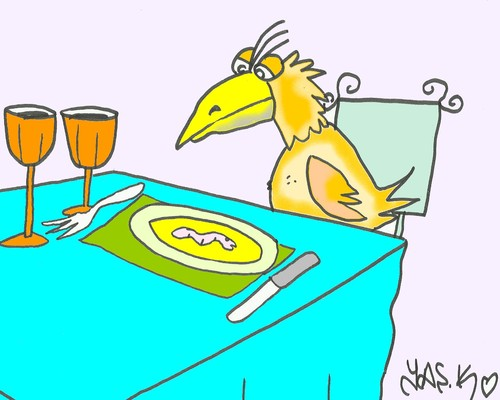 Cartoon: helpless (medium) by yasar kemal turan tagged helpless,eagle,worm,banquet