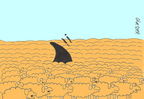 Cartoon: herd (medium) by yasar kemal turan tagged attack,shark,sheep,herd
