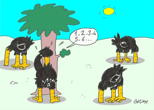 Cartoon: hide and seek (medium) by yasar kemal turan tagged hide,and,seek,ostrich
