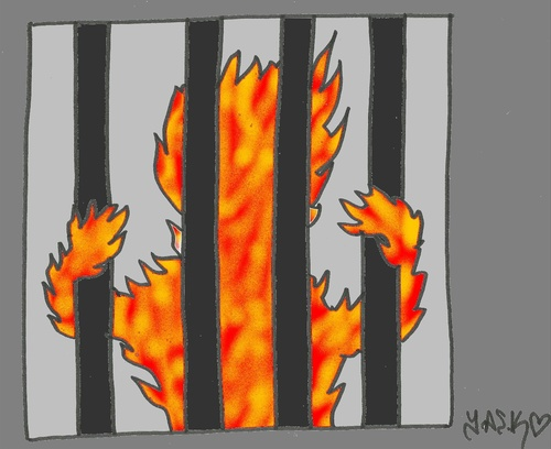 Cartoon: Honduras prisoners (medium) by yasar kemal turan tagged rights,human,fire,prison,prisoners,honduras,fascism