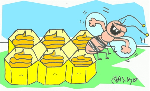 Cartoon: honeeeeey (medium) by yasar kemal turan tagged love,stool,bee,honey
