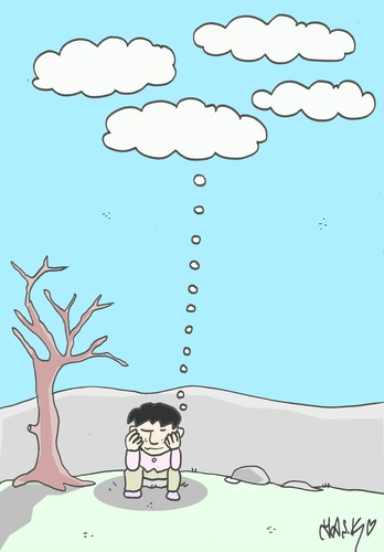 Cartoon: hope (medium) by yasar kemal turan tagged hope,love,rain,cloud,drought,thought