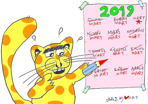 Cartoon: ideal calendar (medium) by yasar kemal turan tagged ideal,calendar